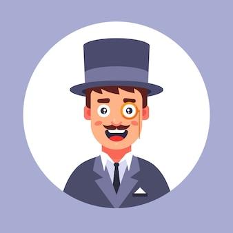 Hombre burbuja en el siglo xix con sombrero. ilustración plana