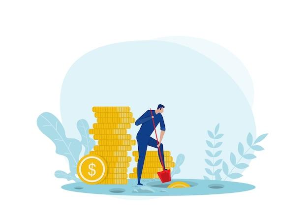 Hombre en busca de bolsa de dinero escondida