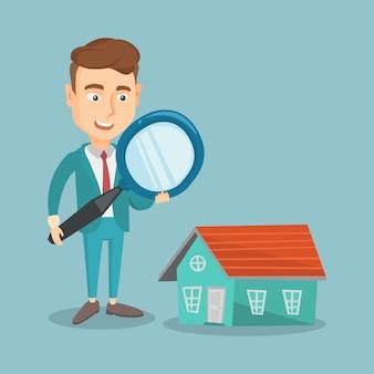 Hombre buscando ilustración de vector de casa