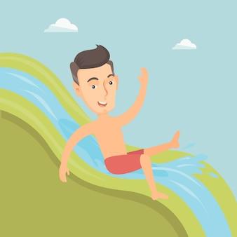 Hombre cabalgando por el tobogán de agua ilustración vectorial.