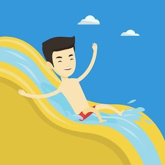 Hombre cabalgando por el tobogán de agua ilustración.