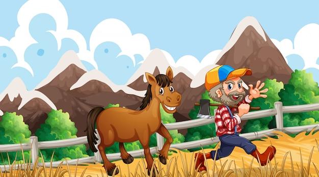 Hombre y caballo en granja