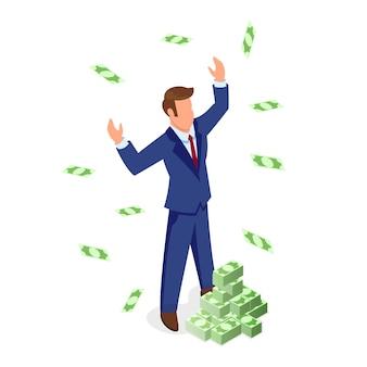Hombre de cabello castaño sin rostro confiado en traje formal de pie cerca de montones de billetes y disfrutando de la riqueza. crecimiento financiero y de ventas, desarrollo empresarial, obtención de beneficios, concepto isométrico de inversión.