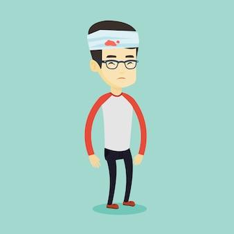 Hombre con cabeza herida ilustración.