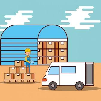 Hombre cajas de almacén logístico y transporte de furgoneta
