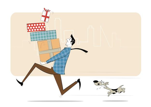 Hombre con cajas de regalos en sus manos corre de perro enojado