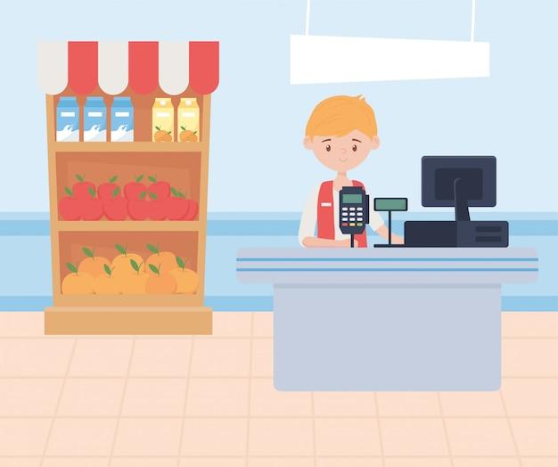 Hombre cajero supermercado supermercado comida exceso compra