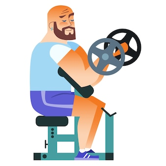 Hombre calvo fitness entrenamiento muscular pesas