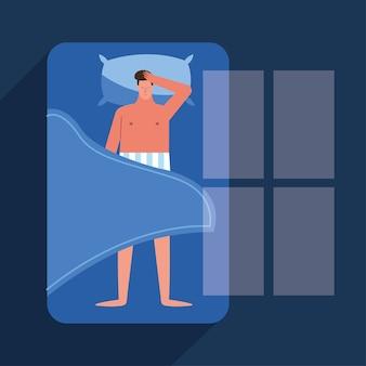 Hombre en la cama que sufre de insomnio, diseño de ilustraciones vectoriales de caracteres