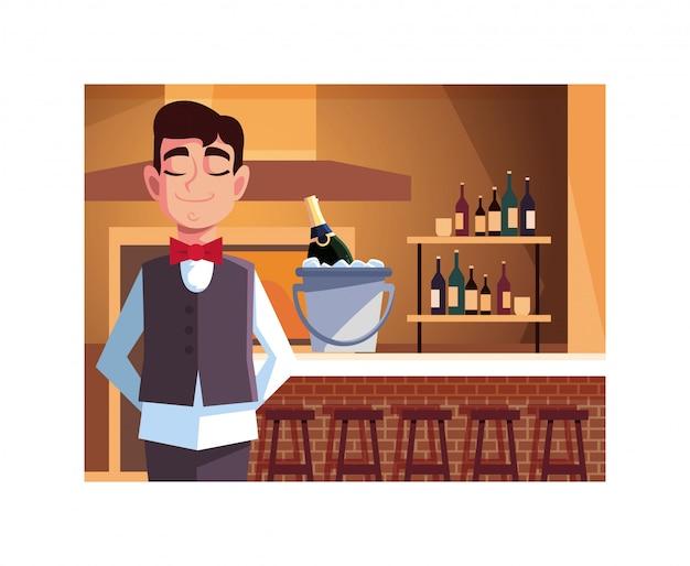 Hombre camarero profesional que ofrece vino tinto en el bar.