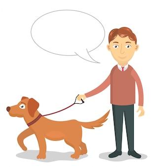 Un hombre camina con su perro ilustración