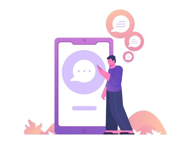 Hombre caminando y chateando en la aplicación móvil con fondo de teléfono inteligente