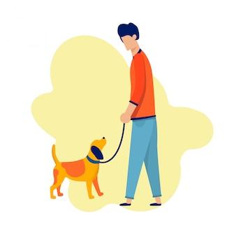Hombre caminando con perro a lo largo de la ilustración de dibujos animados