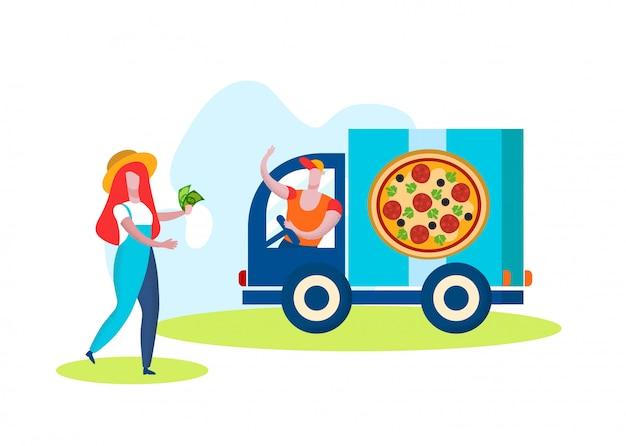 Hombre camionero vendiendo pizza sobre fondo blanco.