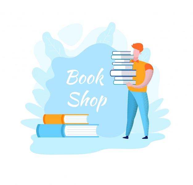Hombre en camisa naranja con pila de libros. tienda de libros.