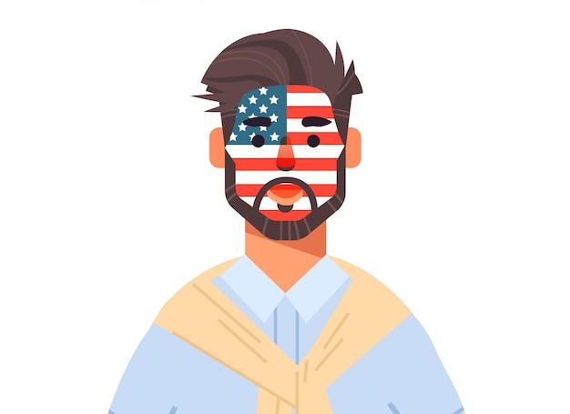 El hombre con la cara de la bandera de los estados unidos pintada celebrando el 4 de julio día de la independencia americana concepto de vacaciones ilustración vertical