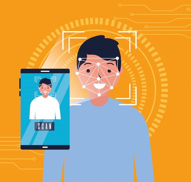 Hombre cara escanear tecnología digital biométrica
