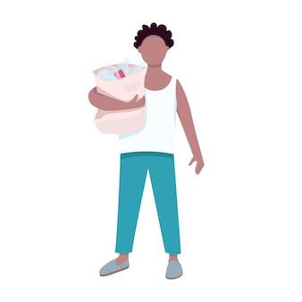 Hombre con carácter sin rostro de color plano de residuos plásticos. adulto sosteniendo basura. persona de mediana edad afroamericana clasificando basura aislada ilustración de dibujos animados para diseño gráfico web y animación