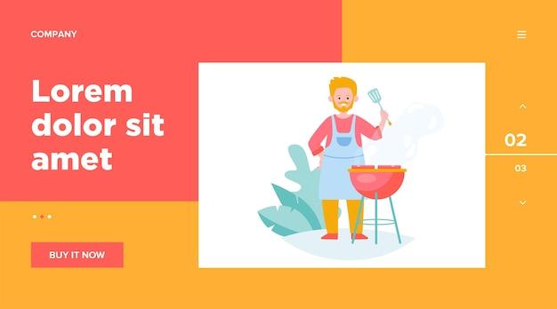 Hombre carne frita en plantilla web de naturaleza. cocinero de dibujos animados asando bistec y cocinando alimentos frescos o pinchitos al aire libre