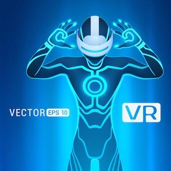 Un hombre en un casco de realidad virtual.