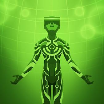 Hombre en el casco de realidad virtual