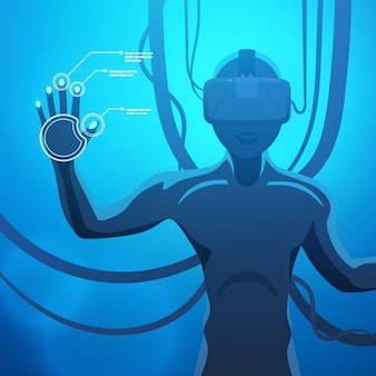 Hombre en un casco de realidad virtual