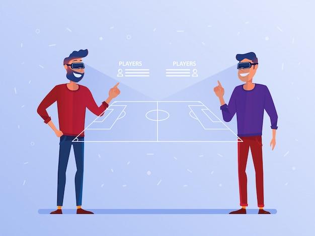 Un hombre caucásico con auriculares de realidad virtual que mira un juego de fútbol en línea.