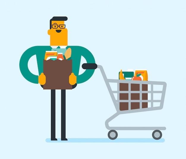 Hombre caucásico haciendo compras en la tienda de comestibles