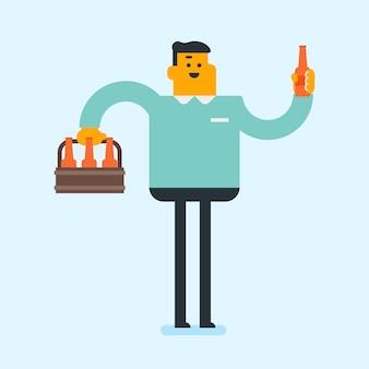 Hombre caucásico joven con paquete de cerveza.