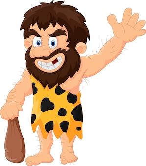 Hombre de las cavernas de dibujos animados agitando la mano