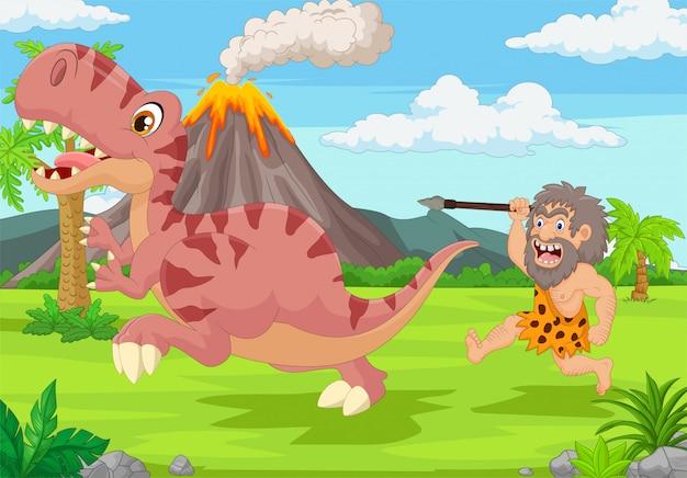 Hombre de las cavernas de dibujos animados persiguiendo a un dinosaurio