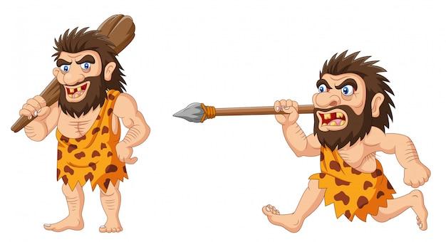 Hombre de las cavernas de dibujos animados sosteniendo un palo con lanza
