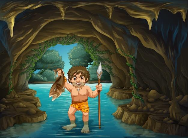 Hombre de las cavernas y peces