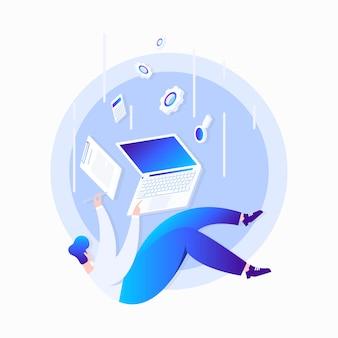 Hombre cayendo con laptop