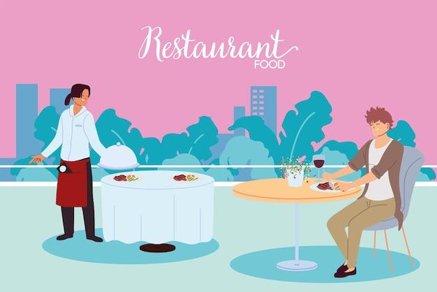 Hombre cenando en el restaurante y el camarero sirviendo el diseño de ilustración de la mesa