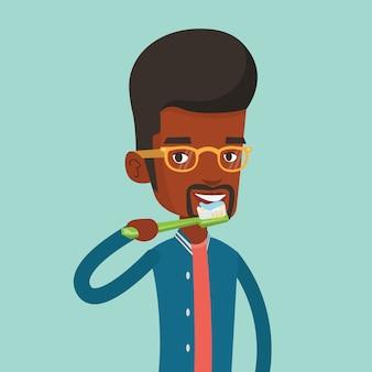 Hombre cepillando sus dientes ilustración.