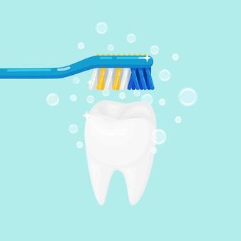 Hombre cepillarse los dientes con cepillo de dientes con pasta de dientes