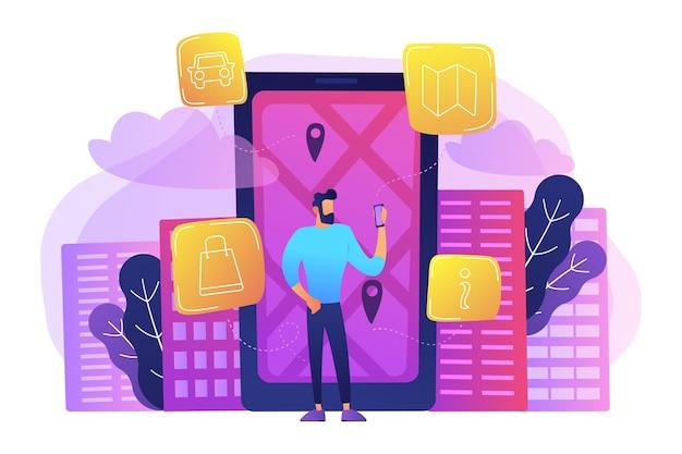 Un hombre cerca de una enorme pantalla lcd con mapa de la ciudad y etiquetas gps en la pantalla obteniendo información sobre la ilustración de la ciudad