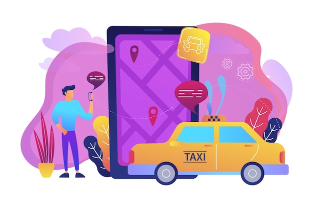 Un hombre cerca de un teléfono inteligente enorme con un mapa de la ciudad y etiquetas gps en la pantalla llama a una ilustración de taxi