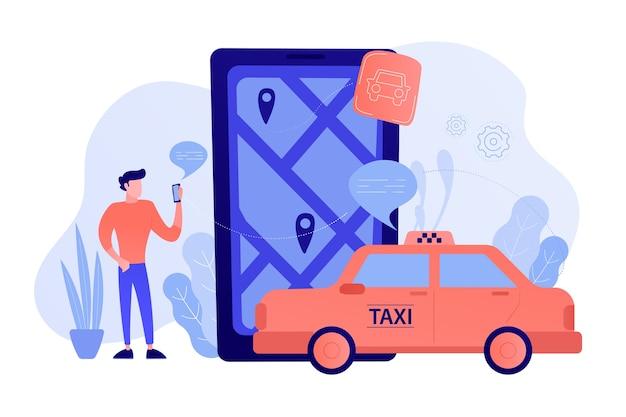 Un hombre cerca de un teléfono inteligente enorme con un mapa de la ciudad y etiquetas gps en la pantalla llama a un taxi. aplicaciones de navegación, transporte público inteligente, iot y concepto de ciudad inteligente. ilustración vectorial