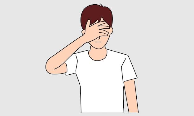 Hombre cerrando los ojos con la palma