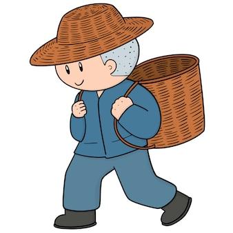 Hombre y cesta de mimbre