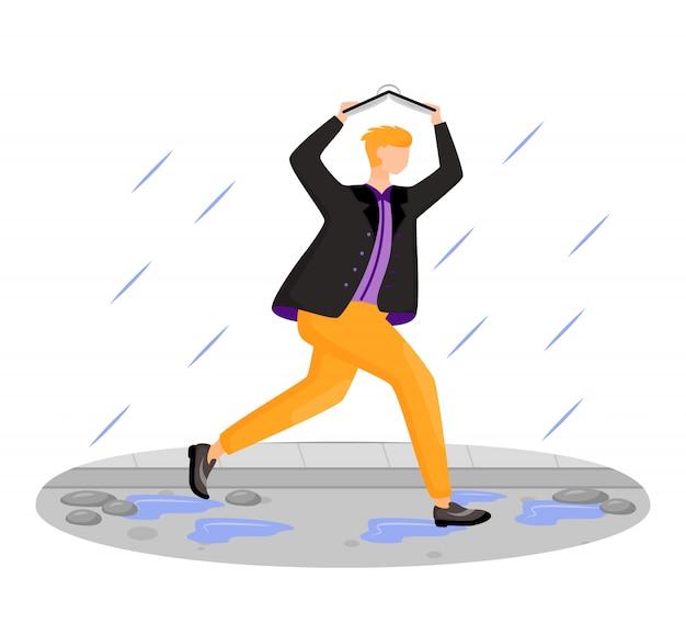 Hombre en chaqueta color personaje sin rostro. ejecutando chico caucásico. clima lluvioso. otoño húmedo día. persona del sexo masculino que cubre la cabeza con el libro aislado ilustración de dibujos animados sobre fondo blanco