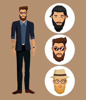 Hombre chaqueta tatuaje barba gafas