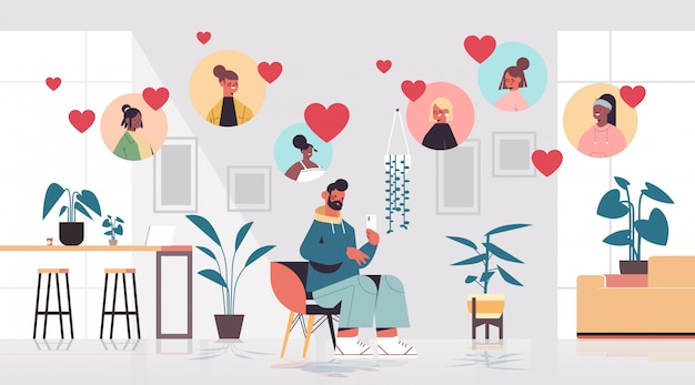 Hombre chateando con mujeres de raza mixta en la aplicación de citas en línea reunión virtual comunicación social relación encontrar amor concepto sala interior horizontal ilustración de cuerpo entero