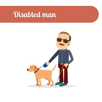 Hombre ciego con perro