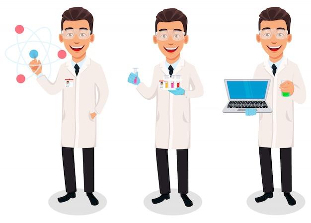 Hombre científico, conjunto de tres poses.