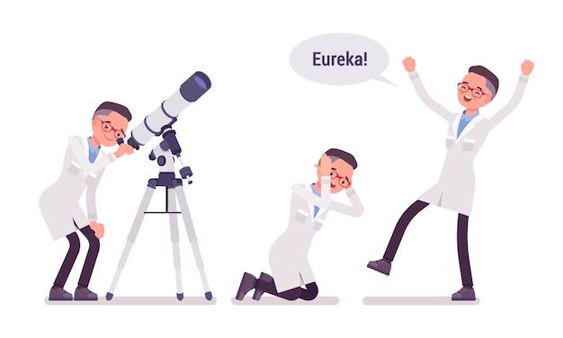 Hombre científico feliz con el resultado de eureka
