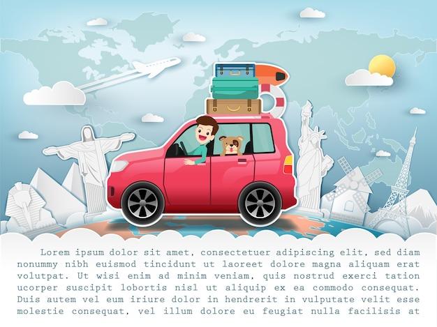 Hombre en coche viaja alrededor del concepto del mundo.