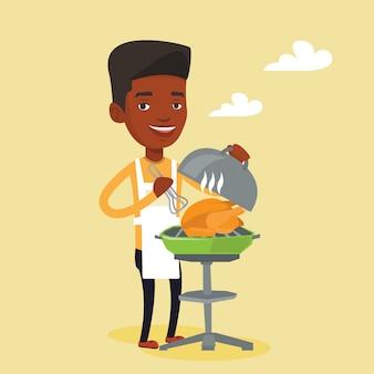 Hombre cocinar pollo a la parrilla.